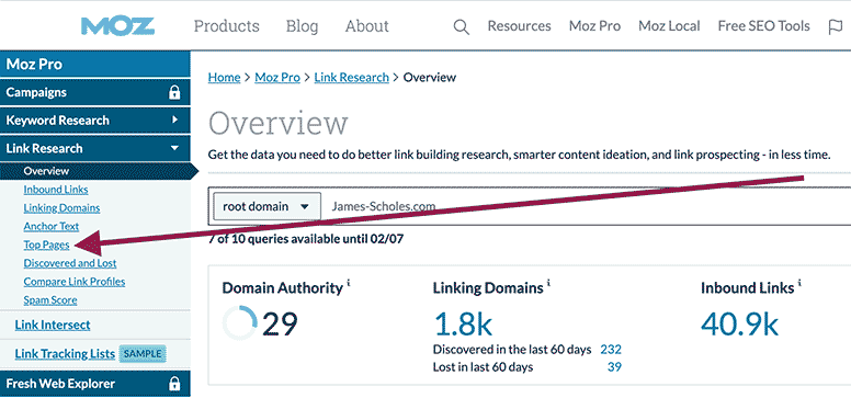 "Click on ""Top Pages"" when in the Overview section of Moz Link Explorer."