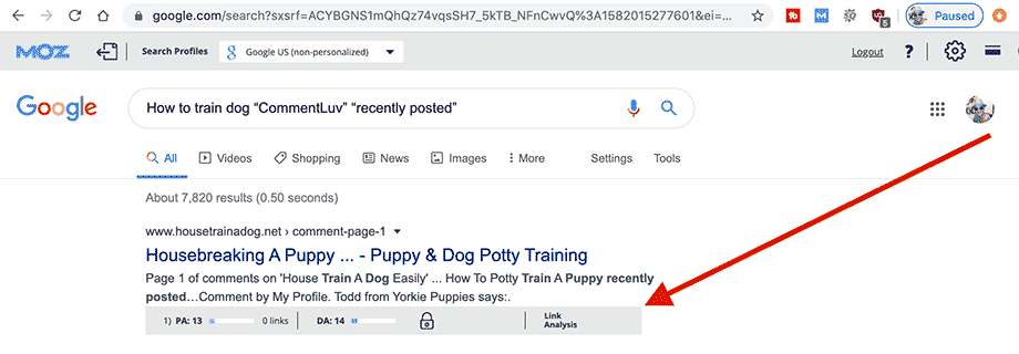 When using Mozbar Chrome extension, additional information will appear telling you the domain authority of each site in the Google search results.