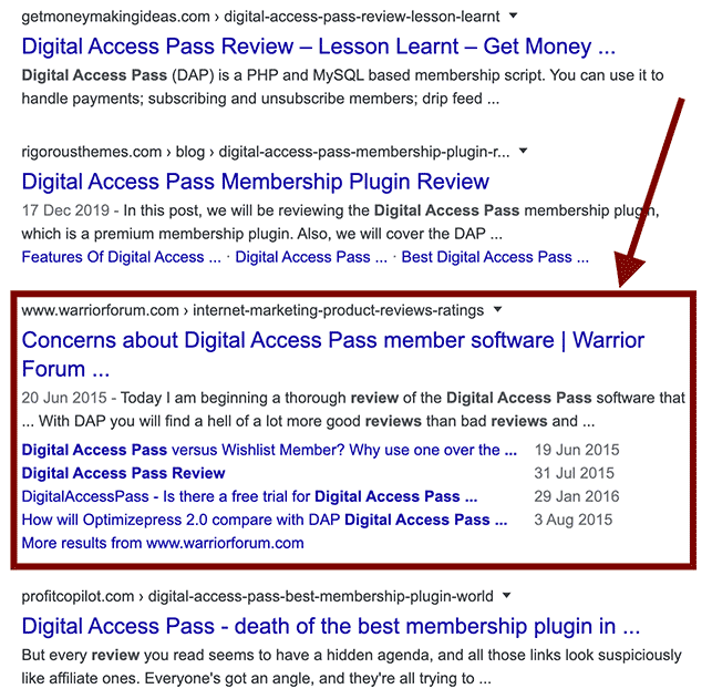 Warrior Forum and Digital Access Pass in search results