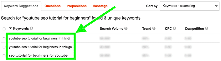 If KeywordTool.io only generates a few keywords, this mains your main keyword is too long. Shorten the keyword and KeywordTool.io will generate more keywords to work with.