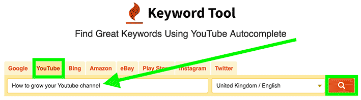 "Make sure you're on the ""Youtube"" tab then enter your keyword and click on the ""search"" icon."