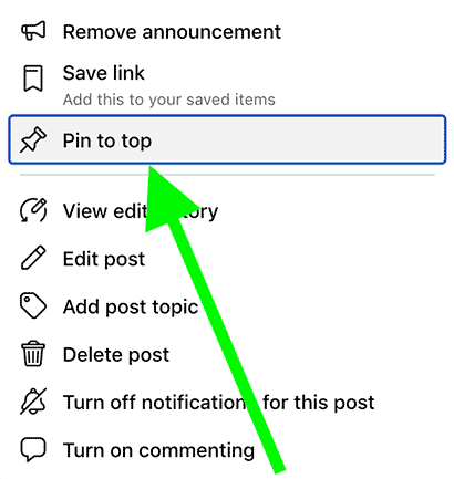 "Once you've made your post an ""Announcement"", then click on ""Pin to top"" so it always stays at the top of your Facebook group and it's always visible to new Facebook members who join your group."