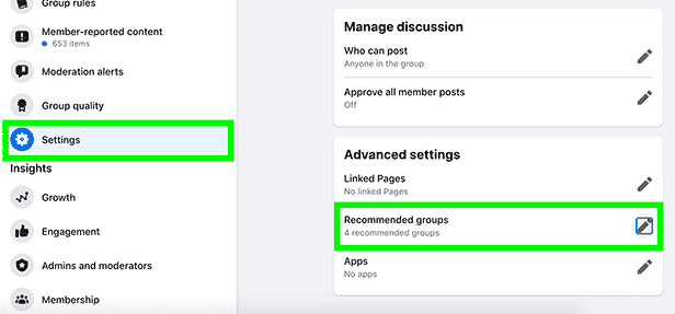 "To add more members to your Facebook groups, make sure to cross-promote your groups by using the ""Recommended groups"" found in ""Advanced settings""."