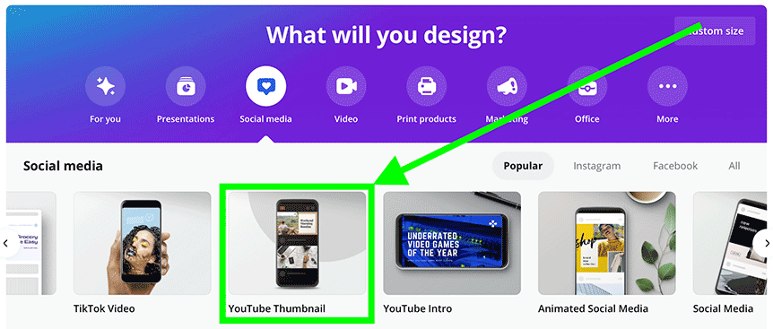 Selecting Youtube thumbnail template on Canva's homepage